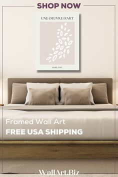 FRAMED & FREE USA SHIPPING Lovely bedroom wall art. Beige canvas artwork with leaf shapes that will transform any wall. #bedroomart #bedroomcanvasprint Bedroom Canvas, Bedroom Artwork, Bedroom Wall, Dining Room Wall Art, Living Room Decor, Canvas Artwork, Canvas Prints, Beige Walls, Leaf Shapes