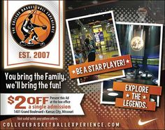 Take your whole family to the College Basketball Experience and use this ad for $2 OFF! // For more family resources visit www.ifamilykc.com!! :)
