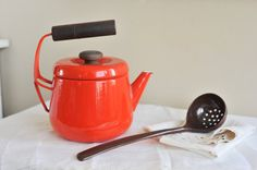 Extremely Rare Red and Teak Kobenstyle Dansk Kettle by TheWildPlum, $90.00
