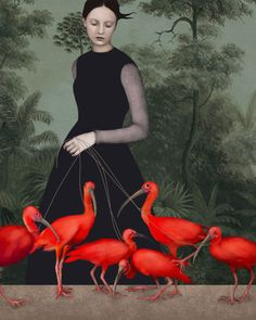 'The lady of the ibis' by Daria Petrilli. Italian illustrator Daria Petrilli's digital artworks hearken back to the countryside retreats… Daria Petrilli, Inspiration Artistique, Art And Illustration, Illustration Fashion, Surreal Art, Bird Art, Love Art, Oeuvre D'art, Painting & Drawing