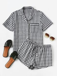 #MakeMeChic - #MAKEMECHIC Piping Detail Gingham Blouse And Shorts Pajama Set - AdoreWe.com