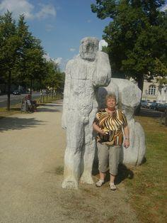 Potsdam - stone sculptures at the entrance to Park Sanssouci