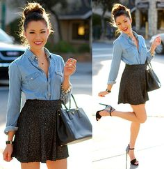 Sparkling Tweed Skirt, Studded Denim Top, Bracelet, Saffiano Lux, Strappy Heels, Necklace