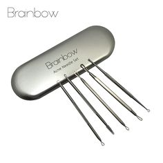 Brainbow 5ピース/パックにきび針キットステンレス鋼にきび除去面皰抽出にきび除去ツール洗顔料