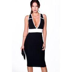 d0171984af79 Boohoo Paula Plunge Panelled Midi Dress (1,045 INR) ❤ liked on Polyvore  featuring dresses, mid calf dresses, calf length dresses, white midi dress,  ...