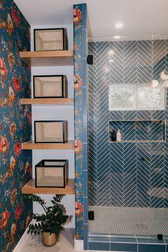 Jaclyn Johnson: Blue Glass Tile | Fireclay Tile | Fireclay Tile Herringbone Tile Pattern, Blue Glass Tile, Fireclay Tile, Bold Wallpaper, Guest Bath, Blue Design, Tile Patterns, Design Trends, Design Inspiration