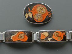 Altes Emallierter Designer Armband & Anhänger von Perli Schwäbisch Gmünd - S
