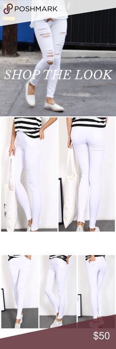 Super stretch distressed white skinnies These skinny pants literally stretch across sizes! Marked XL, these look like a S but tretch to accommodate anywhere from size small to large. The small framed model is wearing these in XL, can you believe it?! It's more like a 1 size fits all pant (Which is hard to find!) //stretch fabric looks like denim // intentionally textured featuring side and back pockets, these white skinny pants also come in BLACK & they're perfect for your modern wardrobe…