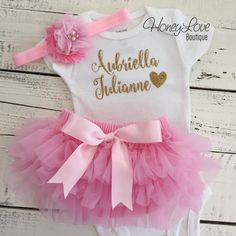 PERSONALIZED SET gold glitter shirt bodysuit, pink ruffle tutu skirt bloomers, flower headband, newborn baby girl take home hospital outfit by HoneyLoveBoutique