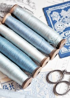 Beautiful Blue Antique Thread on Spools