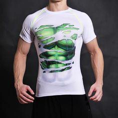 3D Compression Shirt Fitness Men Superhero Comics Superman Quick Dry Tights Clothing Short Sleeve T Shirt