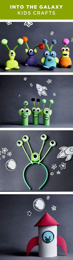 Help kids explore space with these fun galaxy kids crafts. From cardboard tube U. - Help kids explore space with these fun galaxy kids crafts. From cardboard tube UFOs to their very o - Projects For Kids, Diy For Kids, Craft Projects, Help Kids, Outer Space Crafts For Kids, Space Kids, 5 Kids, Toddler Crafts, Kids Crafts