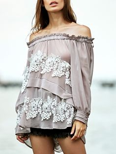 Lace Splice Off The Shoulder Long Sleeve Loose Blouse GRAY: Blouses | ZAFUL