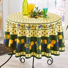 French-made tablecloth.  Product: TableclothConstruction Material: PolyesterColor: GreenF...