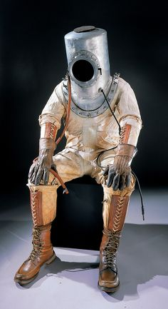 This suit built in 1935 by BG Goodrich was the third such suit made for aviator Wiley Post. The first practical design, it featured an inner rubber bladder and a rubberized fabric outer layer which was glued to a frame with joints to facilitate movement. Post used his suit to fly to an altitude of 50,000 feet, where he discovered the jet stream. Post's suit is the predecessor to all modern pressure suits, which operate on the same basic principes.