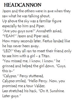 Heroes of Olympus Headcannon. Leo's Return & Calypso's reaction upon seeing Percy again.