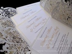 Paper lace design invitations by www.tangodesign.com.au #laserinvitations #lacecutting #laceinvitations