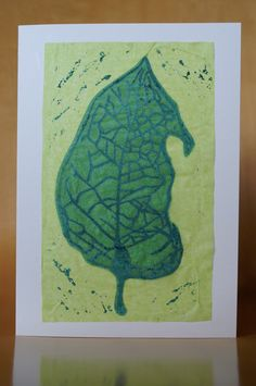 Handprinted leaf linocut collage card