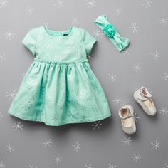 Baby fashion | Baby clothes | Snowflake print dress | Headwrap | Flats | The Children's Place