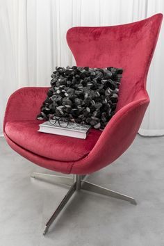 Luxury black pillow, www. Black Pillows, Designer Pillow, Egg Chair, Lounge, Interior Design, Luxury, Unique, Furniture, Home Decor