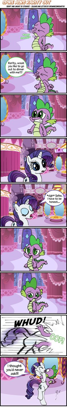 Spike Asks Rarity Out - Lineart By SteGhost by BrownieComicWriter.deviantart.com on @deviantART