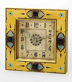 A vintage yellow Cartier clock, 1930.