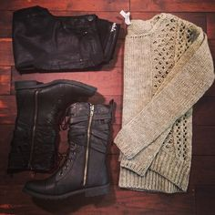 In love with this long knit sweater paired with combat boots! #Areopostale #boots