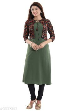 Kurtis & Kurtas ALC Creation Women Solid Crepe Kurti Fabric: Kurti -  Crepe , Jacket - Crepe Sleeve Length: Three-Quarter Sleeves Work / Pattern: Kurti - Solid , Jacket - Printed Combo of: Single Sizes: Kurti - XS - 34in, S - 36in, M - 38 in, L - 40 in, XL - 42 in, XXL - 44 in , Jacket -  XS - 34in, S - 36in, M - 38 in, L - 40 in, XL - 42 in, XXL - 44 in Sizes Available: XS, S, M, L, XL, XXL, XXXL *Proof of Safe Delivery! Click to know on Safety Standards of Delivery Partners- https://ltl.sh/y_nZrAV3  Catalog Rating: ★4.1 (11759)  Catalog Name: ALC Creation Women Solid Crepe Kurtis CatalogID_538850 C74-SC1001 Code: 144-3837269-