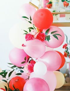balloon clusters with florals