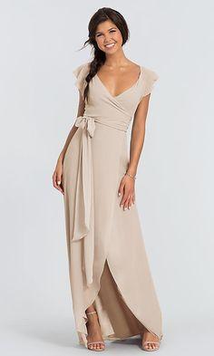 bd117bdc41 Dorian Long Chiffon V-Neck Wrap Bridesmaid Dress. Suknie ŚlubneDruhny