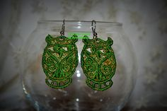 "Orecchini ""GUFO"" in pizzo, lace earrings-embroidery machine, owls. #orecchini #earrings #gufi #owls #handmade #fattoamano #lemaddine #outfit #ricamato #embroidery #beauty #bijoux #seguiteilpiccolobazardiannamaria#"