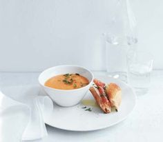Cantaloupe Soup with Prosciutto and Mozzarella Sandwiches by Real Simple. MyRecipes recommends that you make this Cantaloupe Soup with Prosciutto and Mozzarella Sandwiches recipe from Real Simple Melon Recipes, Cantaloupe Recipes, Sandwich Recipes, Water Recipes, Supper Recipes, Soup Recipes, Healthy Recipes, Pbs Food, Kitchens
