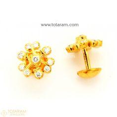 22k Gold Diamond Earrings For Women Close Setting 235 Der1145