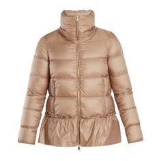 Moncler Anet ruffled-hem quilted down coat (15.522.690 IDR) ❤ liked on Polyvore featuring outerwear, coats, beige, moncler, shiny down coat, quilted coat, moncler coat and down coat