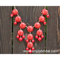 Red Bubble Necklace, Bib Statement Necklace, Holiday Party,Bridesmaid Gifts, Beaded Jewelry, Wedding Necklace$16.00