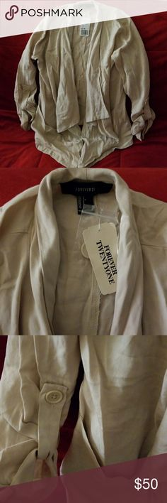Forever 21 Waterfall Jacket Perfect cream waterfall jacket by Forever 21. Throw it on over a dress or top and let it drape down to provide cover but still reveal your style underneath. I have not worn it, tag is attached Forever 21 Jackets & Coats