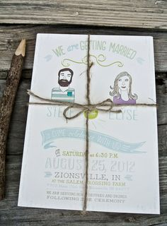 Wedding Invitation: Rustic and Retro Illustrated boho style. $2.00, via Etsy.