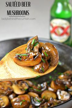 Sautéed Beer Mushrooms | A rich hearty side dish that is perfect on a burger, steak or on the side.
