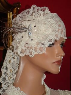 Wedding Flapper Headband Antique White Lace by ludascrafts