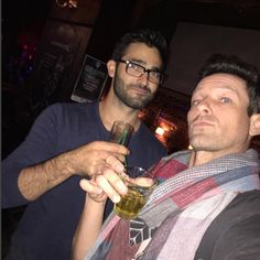 Hoechlin with a drink