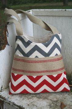 Red and grey chevron bag. -MadisonReeceDesigns