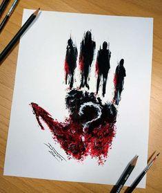 – Graffiti World Creepy Drawings, Dark Art Drawings, Cool Drawings, Kunst Tattoos, Body Art Tattoos, Arte Horror, Horror Art, Fantasy Kunst, Fantasy Art