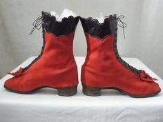 Vintage Victorian 1860's 1870's Children's Red Wool Black Leather High Top Shoes | eBay: johnsartifactorium