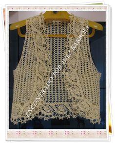 Como No Tempo da Vovó: COLETE EM CROCHÊ SUPER DELICADO COM GRÁFICOS  #crochet tops@Af's Collection