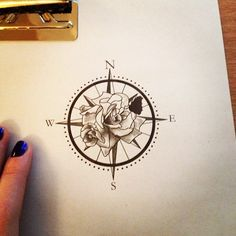 Floral compass Tattoo Design