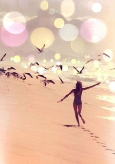 The woman running on the beach shows freedom through a clear mind. Her footsteps will eventually wash away but is recycled back into the cycle of the sea.