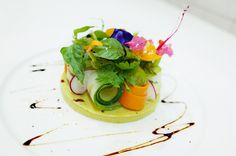 avocado panna cotta, vegetable salad, fresh herbs, edible flowers | Tumblr