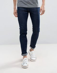 Skinny 12.5oz Jeans With Rips In Dark Blue - Indigo Asos S1KY7