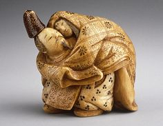 Netsuke ~ Shominsai (Japan) Narihira Eloping with Takako, early 20th century , Ivory with staining, sumi, lacquer details,