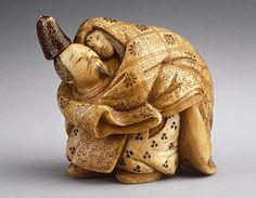 Netsuke ~ Shominsai (Japan) Narihira Eloping with Takako, early 20th century , Ivory with staining, sumi, lacquer details,